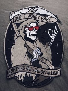 grim reaper embroidery patch