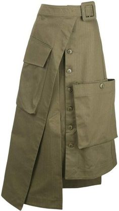 Vintage Dresses Online, Military Looks, Cute Skirts, Wrap Skirts, Couture Fashion, Steampunk Fashion, Gothic Fashion, Green Cotton, Skirt Outfits