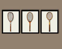 vintage tennis posters | Tennis Raquets Posters, Room Decor, Bedroom Wall Art, Set of Three 11 ...