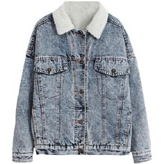 Blackfive Fleece Lined Pocketed Md-long Denim Jacket ($45) ❤ liked on Polyvore featuring outerwear, jackets, coats, tops, blue jackets, pocket jacket, blue denim jacket, fleece lined jean jacket and studded jacket