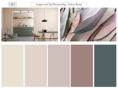Colour palette - Taking inspiration from nature, and these beautiful eucalyptus leaves, this colour combination feels relaxed, warm and vibrant. Lounge Colour Schemes, House Color Schemes, Living Room Color Schemes, House Colors, Living Room Designs, Colour Combinations Interior, Kitchen Colour Schemes, Warm Bedroom Colors, Bedroom Colour Palette