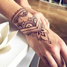 Discover recipes, home ideas, style inspiration and other ideas to try. Wrist Hand Tattoo, Mandala Wrist Tattoo, Hand Tats, Wrist Tattoos, Finger Tattoos, Tribal Hand Tattoos, Fake Tattoos, New Tattoos, Body Art Tattoos