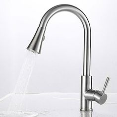 Single Handle Pull-down Vessel Pullout Spray Rotatable Ceramic Valve Nickel Brushed Kitchen Faucet   At FaucetsDeal.com