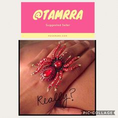 Sexy Spider Ring Brand new conditionred with gold hardwareadjustable to any finger2.5x2            Please only ask specific questions  when ready to buy/bundle                                      ❌No Trade❌                    ❌No Paypal❌                     ❌No Holds❌                 ❌No Lowballing❌                      Thanks, Tamra Jewelry Rings