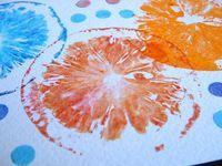 Print with fruit. (The lemon changed the color of the ink)
