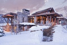 The Mountain Peek is a modern rustic home nestled in the mountains of Big Sky, within the Yellowstone Club, Montana, the United States. Mountain Home Interiors, Yellowstone Club, Modern Rustic Homes, Modern Farmhouse, Log Home Living, Mountain Modern, Mountain Homes, Architecture Portfolio, Interior Architecture
