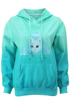 """Shop Gradient Color """"Triangle & Kitty Face"""" Green Hoddie at ROMWE, discover more fashion styles online. Hooded Long Sleeve Shirt, Long Sleeve Shirts, Hooded Sweatshirts, Hoodies, Pastel Fashion, Blue Hoodie, Gradient Color, Collar Shirts, Triangle"""