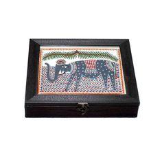 Madhubani Hand Painted Elephant Box  - FOLKBRIDGE.COM | Buy Gifts. Indian Handicrafts. Home Decorations.