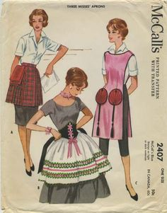 Vintage Apron Sewing Pattern   McCall's 2407   Year 1960   One Size