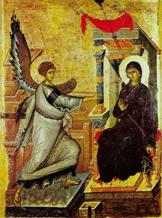 Orthodox icon of the Annunciation: O Theotokos and Virgin rejoice. Mary, full of grace The Lord is with thee. Blessed art thou among women and blessed is the fruit of thy womb; for thou hast born the savior of our souls. Byzantine Art, Byzantine Icons, Early Christian, Christian Art, Religious Icons, Religious Art, Madonna, Feast Of The Annunciation, Angelus
