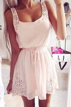 Fashion solid color Hollow out dress