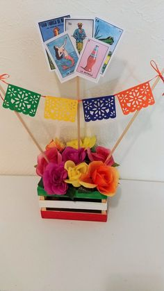 *minus the cards* Mexican Party Centerpiece Mexican Fiesta Centerpiece Loteria Centerpiece Mexican Theme Baby Shower, Mexican Fiesta Birthday Party, Fiesta Theme Party, Party Themes, Fiesta Party Centerpieces, Mexican Centerpiece, Mexico Party Theme, Party Ideas, Rustic Centerpieces