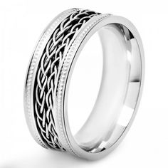 Amazing #gift: Crucible Stainless Steel Double Braided Inlay Milgrain Spinner Band #Ring