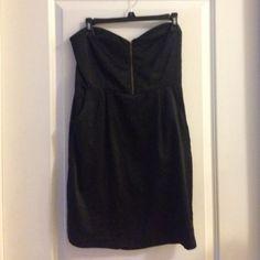 Black strapless dress with zipper front Black strapless dress with zipper front and pockets silence + noise Dresses Strapless