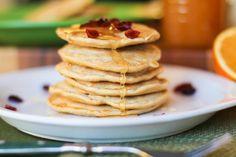 Gluten-free oat flour pancakes. Use steviaor honey instead of sugar, and orinal instant oatmeal. Add cinnamon and allspice. very good! http://www.livesimpli.com/gluten-free-baking/worlds-best-gluten-free-pancake-recipe