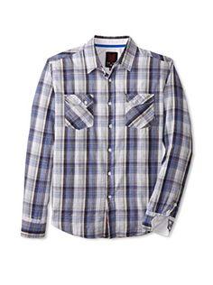 ONE90ONE Men's Baron Double Pocket Plaid Shirt (Blue)
