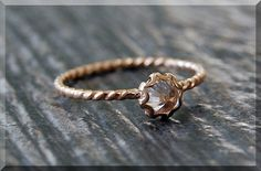 Gold Cubic Zirconia Ring April Birthstone Ring by thewrappedpixie