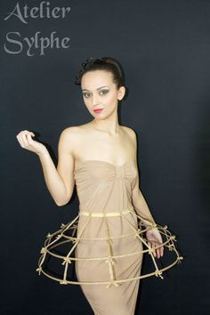 Gold lame color Crinoline hoop cage skirt by AtelierSylphecorsets