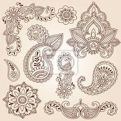 Wall Mural henna mehndi doodles paisley design elements - flowers • PIXERSIZE.com