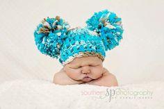 Baby Boy Pompom Hat  Big Pom poms Blue Aqua Brown by Doodlebopperz, $30.00
