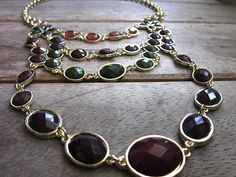 Multi Color Gem Gold Necklace and Earring Set by popins on Etsy, $65.00