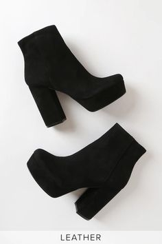 The Steve Madden Gratify Black Suede Leather Platform Booties are a classic, re-imagined! Genuine suede leather shapes these trendy booties with a platform foot bed, rounded toe upper, and an ankle high shaft. Chunky block heel add to the vibe, while a Fancy Shoes, Cute Shoes, Me Too Shoes, Fashion Heels, Fashion Boots, Fashion Outfits, Suede Leather, Black Suede, Heeled Boots