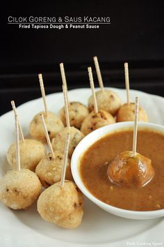 An Indonesian Snack Made With A Tapioca Dough (Boiled Or Fried Preparation) Served With A Delicious Peanut Dipping Sauce.