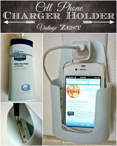 Cell Phone Charger Holder from shampoo bottle