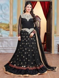 Black Georgette Anarkali Suit with Embroidery Work