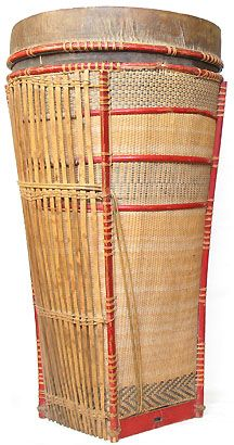 Dayak basket rattan & bamboo with goat skin lid and lined with palm rind - mid 20th c