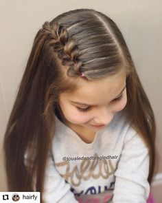 Hair tutorial You are in the right place about cute baby girl hairstyles Here we offer you the most Side Braid Hairstyles, Baby Girl Hairstyles, Braided Hairstyles Tutorials, Princess Hairstyles, School Picture Hairstyles, Kids Girl Haircuts, Soccer Hairstyles, Updo Hairstyle, Prom Hairstyles