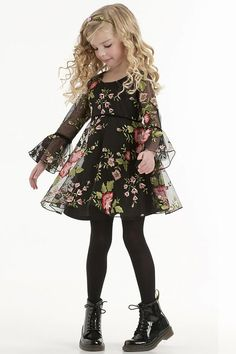 Biscotti Midnight Garden Dress Style: Chiffon dress Covered with multi-colored floral embroidery pattern Velvet trim at waistline and sleeves Flared sleeves Biscotti & Kate Mack Little Dresses, Little Girl Dresses, Girls Dresses, Little Girl Fashion, Kids Fashion, 50 Fashion, Garden Dress, Dress Patterns, Baby Dress