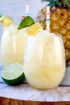 Easy Pineapple Limeade Slush with just 3 ingredients ~ A Summertime favorite drink
