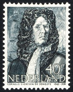 Stamp: Cornelis Evertsen the younger (1642-1706) admiral (Netherlands) (Heroes at sea) Mi:NL 421,Sn:NL 261,Yt:NL 411,NVP:NL 421