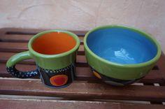 Müslischüssel mit passender Tasse in lustigem Tupfendesign