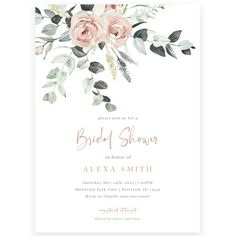 Blush Pink Floral Bridal Shower Invitation | Forever Your Prints