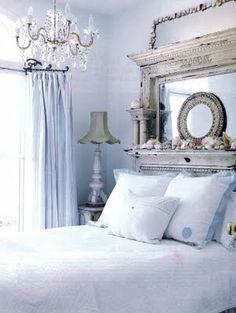 Beautiful bedroom ..Love the mantel as a headboard