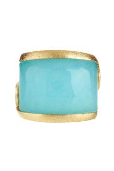 18K Gold Clad East-West Caribbean Blue Quartzite Side Scroll Design Ring on HauteLook
