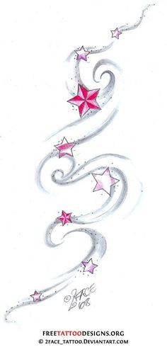 Star tatt: Wish upon a star tattoo but purple and green instead of pink and white