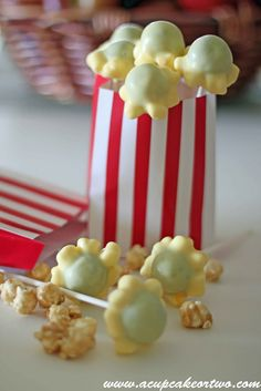 A Cupcake or Two: Popcorn Cake Pops.. These are a great idea but it looks like they used the wrong color cake