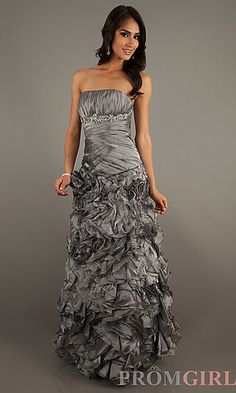 Floor Length Strapless Ruched Dress at PromGirl.com