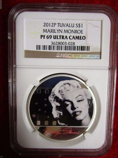 2012 Tuvalu Marilyn Monroe NGC PF-69 Ultra Cameo Colorized .999 pure Silver Coin