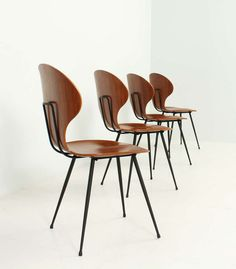 Carlo Ratti; Molded Plywood and Enameled Metal Side Chairs, 1950s.