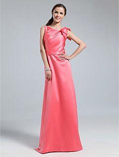 Sheath/Column Bateau Floor-length Satin Bridesmaid Dress  – GBP £ 47.32