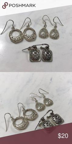 Set of 3 Earrings 3 sets of silver earrings, never worn and great condition! Jewelry Earrings