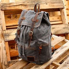 Men-Backpack-Leather-Vintage-Canvas-Pro-Laptop-Travel-Hiking-School-Shoulder-Bag