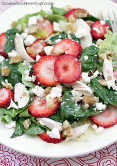 Strawberry Walnut Feta Spinach Salad