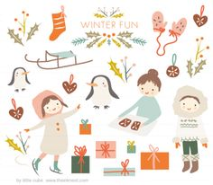 CLIP ART - Winter Fun - for commercial and personal use - by little cube