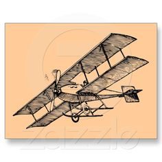 Biplane Aircraft ~ 1900s Vintage Airplane Post Card from Zazzle.com