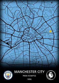 """Beautiful """"Manchester City FC"""" metal poster created by Original Maps. Our Displate metal prints will make your walls awesome."""